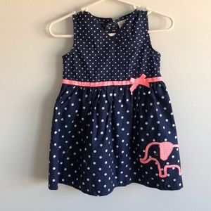 12M Navy and Pink Dress with Elephant detail
